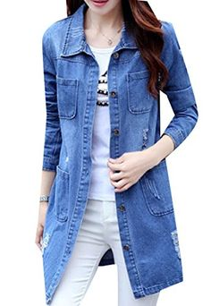 4cf12fd3dfe5 Comfy Women Single Breasted Plus Size Long Sleeve Blazer Jean Jacket Denim  Blue XL Blue Coats