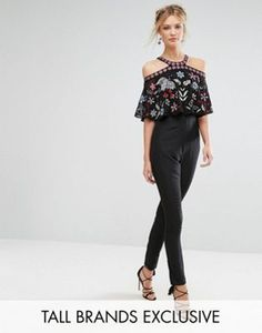 Frock And Frill Tall Premium Embroidered Lace Top Cold Shoulder Jumpsuit