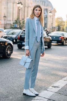 How to wear: light blue blazer, white dress shirt, light blue dress pants Estilo Boyish, Blazers For Women, Pants For Women, Ladies Pants, Suits Women, Suit Fashion, Fashion Outfits, Style Fashion, Fashion Goth