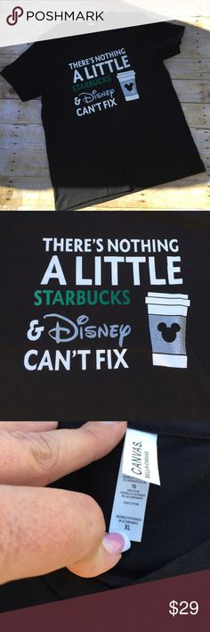 🌲There's Nothing that Starbucks Can't fix T-shirt Super cute gift idea. Bust measures 23 inches across. 100% cotton. V-neck Short sleeve Tee! Never worn! Tops Tees - Short Sleeve