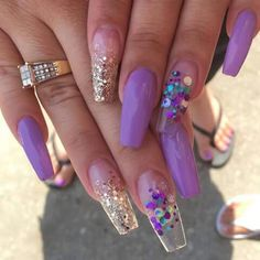 Glitter 💜 by PolishedbyHer from Nail Art Gallery Bling Acrylic Nails, Bling Nails, Swag Nails, Glitter Nails, Gel Nails, Manicures, Coffin Nails, Popular Nail Designs, Gel Nail Designs