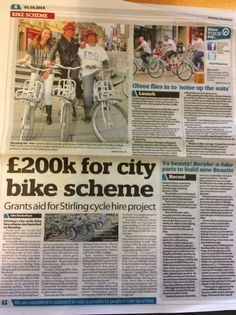 Nextbike Stirling Launch - Front page & full page spread in The Stirling Observer.
