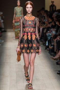 Valentino Spring 2014 RTW. #Valentino #Spring2014 #PFW mesh lace. embroidered. island colors. traveler. worldly.