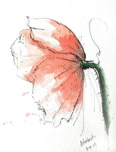 """Original artwork of a red poppy rendered in pen, ink and watercolor. It is titled """"Red Poppy Side View"""" and is signed and dated at the bottom with the title on the back. This lovely flower gives us a wonder side view of the poppy as it seems to flair out with bits of splatter color"""