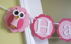 Owl Name Banner - Owl Birthday Party Decorations - Custom Colors.