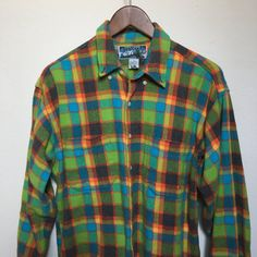 Vintage neon plaid flannel shirt 80s 90s by twinflamesboutique