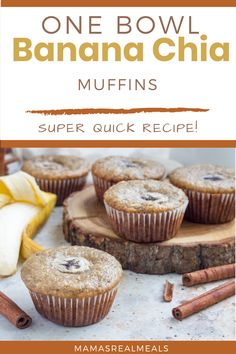 A healthy make ahead breakfast that any busy mom can make! With only one bowl and 5 min prep, these banana muffins come together really fast and are loaded with chia seeds to keep those kids full longer! Healthy Make Ahead Breakfast, Healthy Meals For Kids, Healthy Breakfasts, Healthy Snacks, Healthy Eating, Healthy Recipes, Best Homemade Cookie Recipe, Homemade Muffins, Homemade Food