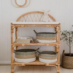 Boho Lounge, Diaper Storage, Nursery Storage, Boho Nursery, Rattan Furniture, Nursery Inspiration, Vintage Decor, Boho Decor, Baby Room
