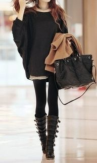 classy: big layered sweater, leggings, tall leather boots, leather bag. maybe add a scarf