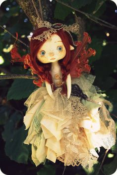 So beautiful doll!!!  OOAK Art Doll to hang  The Secret Fairy by TheDollAndThePea, $135.00