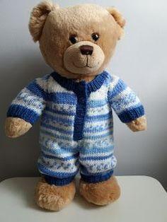 Ravelry: Teddy bear onesie pattern by linda Mary Teddy Bear Knitting Pattern, Knitted Teddy Bear, Crochet Teddy, Knitting Patterns, Bear Patterns, Crochet Onesie, Crochet Patterns, Doll Patterns, Crochet Toys