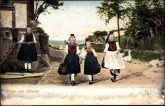 Ansichtskarte / Postkarte Gruß aus Hessen, Junge Mädchen in hessischen Landestrachten, Schwälmer #Schwalm