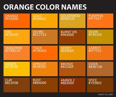 Yellow Color Names Charts Burnt Burned Colors Orange Paint Chart . Orange Things orange names Colour Pallette, Colour Schemes, Color Combos, Color Names Chart, Names Of Colors, Paint Charts, Color Meanings, Colors And Emotions, Color Psychology