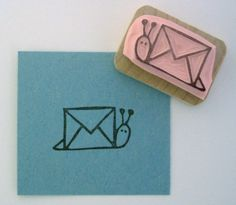 Going to draw this on future letters that I send. Snail Mail Hand Carved Rubber Stamp. $8,00, via Etsy.