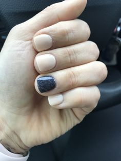 Dip nails natural beige and gray