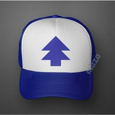 Dipper Pines Tree Hat Gravity Falls Baseball Cap Costume Blue White... ($9.99) ❤ liked on Polyvore featuring accessories, hats, cartoon baseball hat, logo baseball caps, blue baseball cap, blue hat and comic book