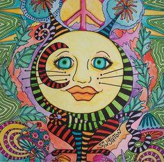 Cat Moon Singleton Hippie Art psychedlic cat by justgivemepeace, $125.00
