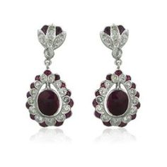 EGL Certified 18k White Gold 1.79ctw Ruby Sapphire Diamond Drop Earrings. Available @ hamptonauction.com at the Fine Jewelry Watches Coins and Collectibles Auction on October 20th, 2014! Come preview our catalog!