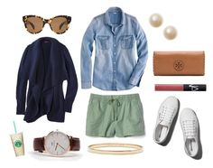 """""""Shorts + Chambray + Sneakers = Sunday"""" by pinkngreennblack ❤ liked on Polyvore featuring Gap, J.Crew, Oliver Peoples, Daniel Wellington, Abercrombie & Fitch, Kate Spade, Tory Burch, NARS Cosmetics and whitesneakers"""
