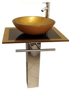 "Mustard Gold Contemporary Tempered Glass Countertops Sinks Modern Vanity, 24"" modern-bathroom-vanities-and-sink-consoles"