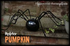 Spider pumpkin - a FUN pumpkin decoration for Halloween parties or to welcome trick-or-treaters