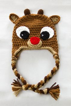 Rudolph Reindeer Hat Crochet Baby Hat by KGCuteCreations on Etsy Crochet  Christmas Hats 4d492c18310