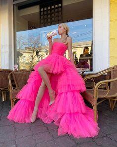Princess A Line High Low Strapless Pink Long Prom/Evening Dress Ruffles cg21150