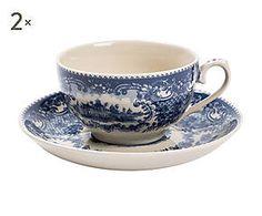 Set di 2 Tazze da the in ceramica con piattino - 11x7x9 cm