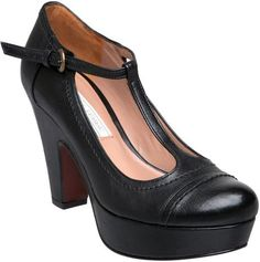 Pied A Terre Ajoite T Bar Platform Court Shoes in Black