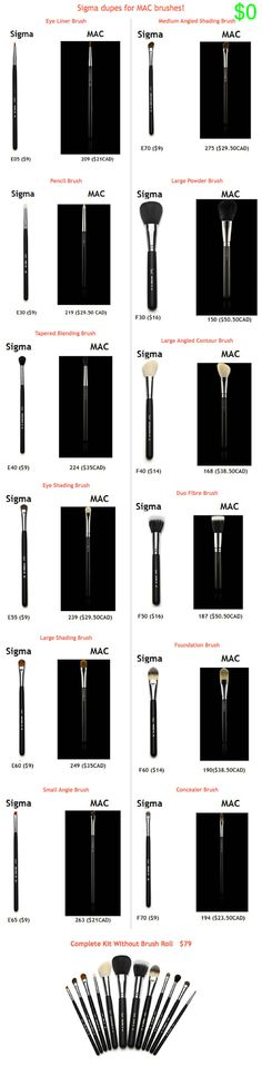 #SIGMA BRUSHES :: Dupe List for Mac Brushes :: I need the E60, E40, E55, E70 & the E65 angle brush for brow powder...E30 might be helpful (I also need the E35 white blending brush...like MAC's 222, the E45 black tapered brush & F35 face brush for under eye powder) | #sigma #sigmabrushes #anitabonitat