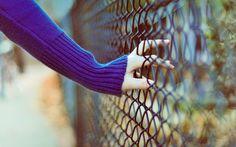 photo, girl, hand, fence, blur, close-up, mood