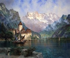 This photo does not do this work justice, it's amazing in person! Dent du Midi (Castle of Chillon, Lake Geneva) - Edwin Deakin - The Athenaeum Dream Vacation Spots, Dream Vacations, Dream Trips, Vacation Destinations, San Francisco Earthquake, Oil Painting Gallery, Voyage New York, Lake Geneva, Mountain Paintings