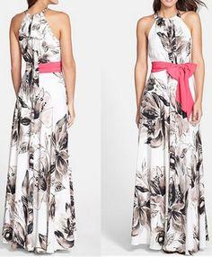 Multicolor Flowers Print Bow Patchwork Elegant Maxi Dress - Maxi Dresses - Dresses