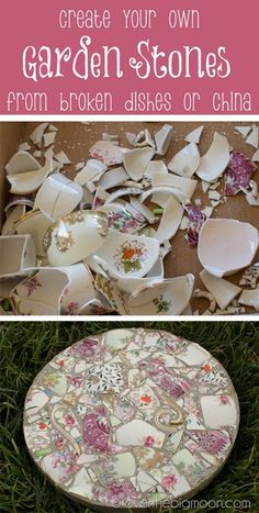 Garden stepping stones: Who loves spending time in the garden? What a fun way to repurpose old china! Mix match different prints for a unique look!