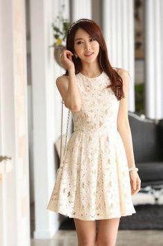 Korean Women Sleeveless Frill Tunic Peplum Lace Floral Embroidery One Piece Shirt Dress