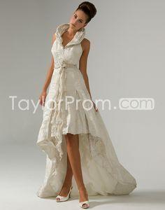Fabulous  A-line Halter Asymmetry-Length  Chapel Ruched Flower Wedding Dresses