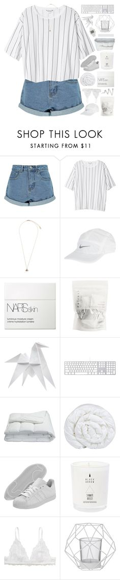 """ONLY DAYLIGHT BETWEEN US"" by celhestial ❤ liked on Polyvore featuring Boohoo, Monki, Topshop, NIKE, NARS Cosmetics, Hermès, Frette, Brinkhaus, adidas and Bloomingville"