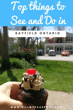 Looking for a lovely day out while at the Lake? Than head to Bayfield Ontario! Enjoy great accommodations, boutique shops, yummy treats, and incredible coffee. Our post provides all the details. Bayfield Ontario, Chocolate Sundae, Stuff To Do, Things To Do, Ontario Travel, Canada Destinations, Canadian Travel, Lake Huron, Visit Canada