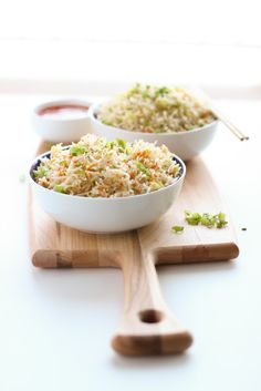 Long Grain rice tossed on high flame with eggs ,finely chopped veggies and soy sauce . Quick and easy egg fried rice recipe !!