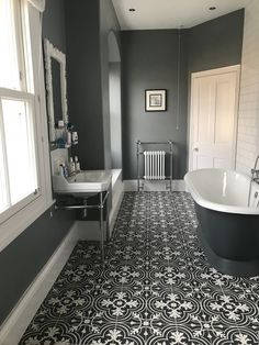 Victorian grey period bathroom cast iron bath