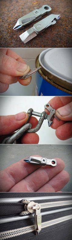 Metperial Titanium Little Bit More Clips Onto Your Zipper, Packs 10 Functional Tools in 1