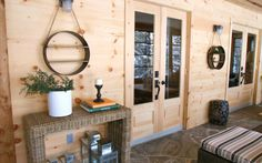 """beautiful knotty western red cedar sunroom, as featured on """"Colin & Justin's Cabin Pressure"""""""