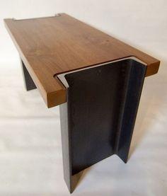 table salon acier et bois massif -- Dunham Bench Welded Furniture, Industrial Design Furniture, Bench Furniture, Steel Furniture, Unique Furniture, Home Decor Furniture, Furniture Projects, Rustic Furniture, Furniture Design