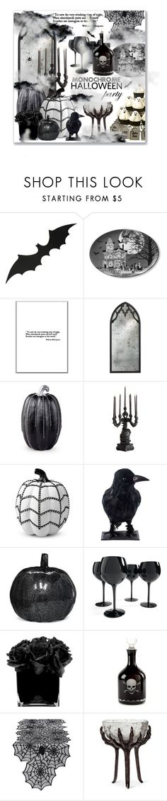 """Monochrome Halloween Party"" by leanne-mcclean ❤ liked on Polyvore featuring Williams-Sonoma, Improvements, Seletti, Grandin Road, Hervé Gambs and Design Imports"