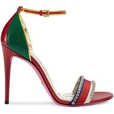 Gucci Leather sandal with crystals ($1,250) ❤ liked on Polyvore featuring shoes, sandals, red, red leather sandals, high heels sandals, ankle strap sandals, gucci sandals and leather sole shoes
