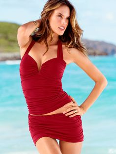 Look your beach best in the Halter Tankini Top from Victoria's Secret featuring firm control. Shop the Magicsuit® collection for women's bikini tops and separates that that slim, smooth and shape to perfection. Plus Swimwear, Swimwear Cover Ups, Swimsuit Cover Ups, Swimwear Fashion, Swim Skirt, Swim Dress, Alessandra Ambrosio, Flattering Swimsuits, Casual Skirt Outfits