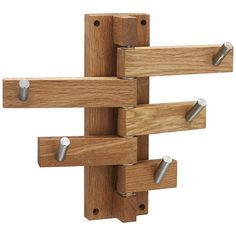 Coat stands racks: John Lewis 5 hook coat rack - play with rounded edges and different widths and lengths. Woodworking Plans, Woodworking Projects, Woodworking Basics, Woodworking Magazine, Coat Stands, Wood Design, Set Design, Design Ideas, Wood Furniture