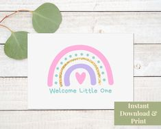Baby Arrival Card, Printable Welcome Little One Printable Baby Girl Card New Baby Card Printable Rainbow Baby Shower Greeting Card Download Baby Shower Greetings, Baby Shower Greeting Cards, Baby Girl Cards, New Baby Cards, Congratulations Baby Boy, Birthday Cards For Son, Retirement Cards, Baby Arrival, Pretty Baby