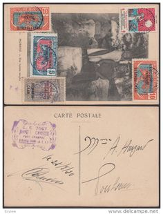 French Equatorial Africa 1930 Used stamp on postcard ( Mobaye ) , native girls & dog