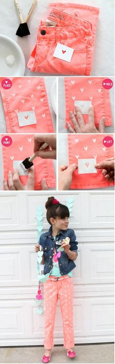 DIY Painted Heart Jeans | diy craft TUTORIALS